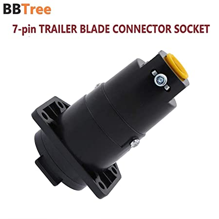 Compact Design 7-pin to 5-pin Trailer Wire Plug Adapter BBTree 7-Way RV Blade to 5-Way Round Trailer Wire Adapter Trailer Light Plug Connector Nickel-Plated Copper Terminals Rugged Nylon Housing