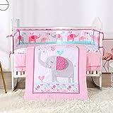 Wowelife Pink Elephant Baby Girl Nursery Crib