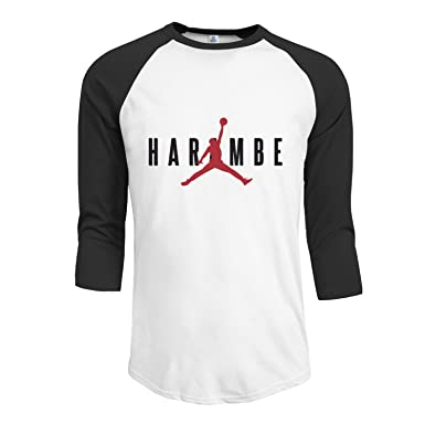 sports shoes d72f0 dac09 Harambe X Jordan Men s Plain Raglan T shirt Black