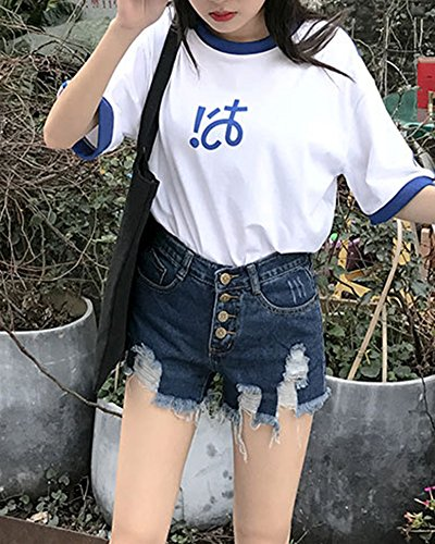 Vita A Strappati Jeans Donne Corto Jeans Blu Quge Denim Slim Pantaloncini Estate Hot Alta Pants qtwHvEvgF