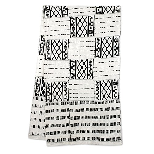 NOVICA Black and White Cotton Blend Kente Scarf, 'Akan Blessings' (18 inch) by NOVICA