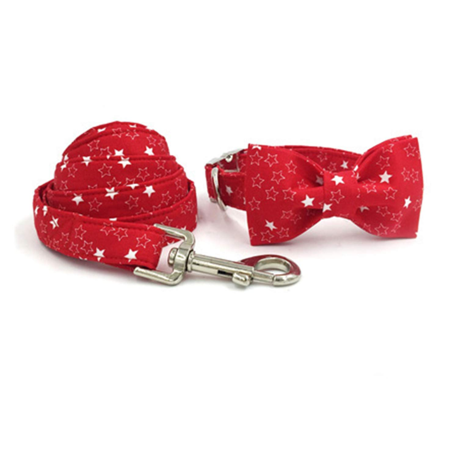 Collar bow and leash L collar bow and leash L Dog Collar and Leash Set with Bow Tie Red Star Cotton Dog&Cat Necklace and Dog Leash for Pet Accessories Gift Collar Bow and Leash L