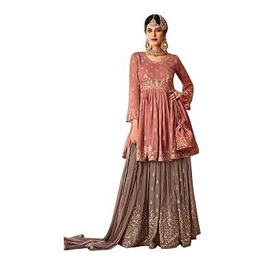 0f2af9111d Amazon.com: Designer Pure Georgette Short Kurti Sharara suit with Dupatta  for Women Indian Muslim dress 7705: Clothing