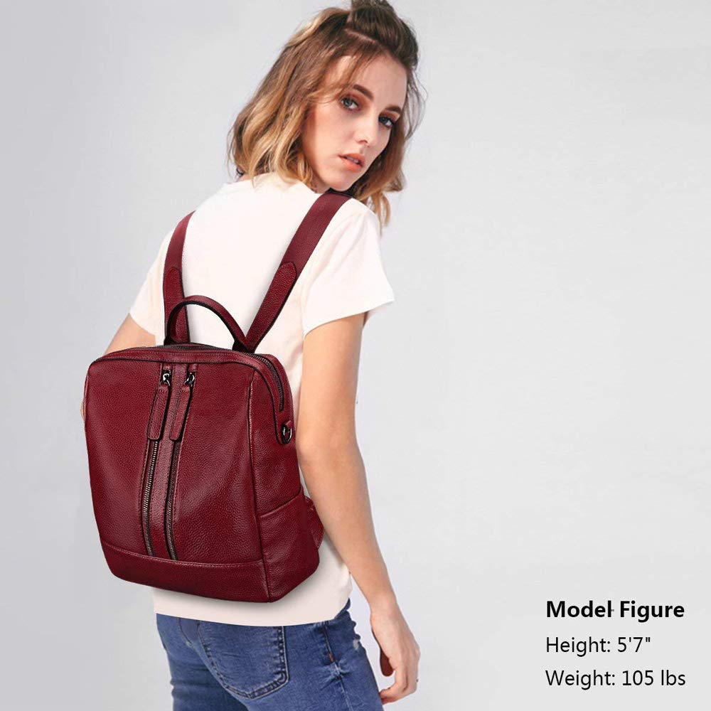 MMJ Backpack Color : Red Casual Backpack Dual-use Soft Leather with top Layer Leather Retro