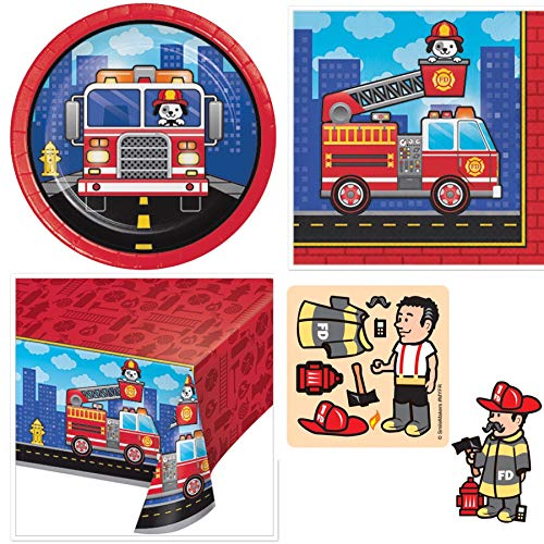 Firefighter Birthday Party Supplies Serves 16 Cake Plates, 16 Napkins, Table Cover, Make Your Own Firefighter Stickers, Recipe - Firefighter Luncheon Plate
