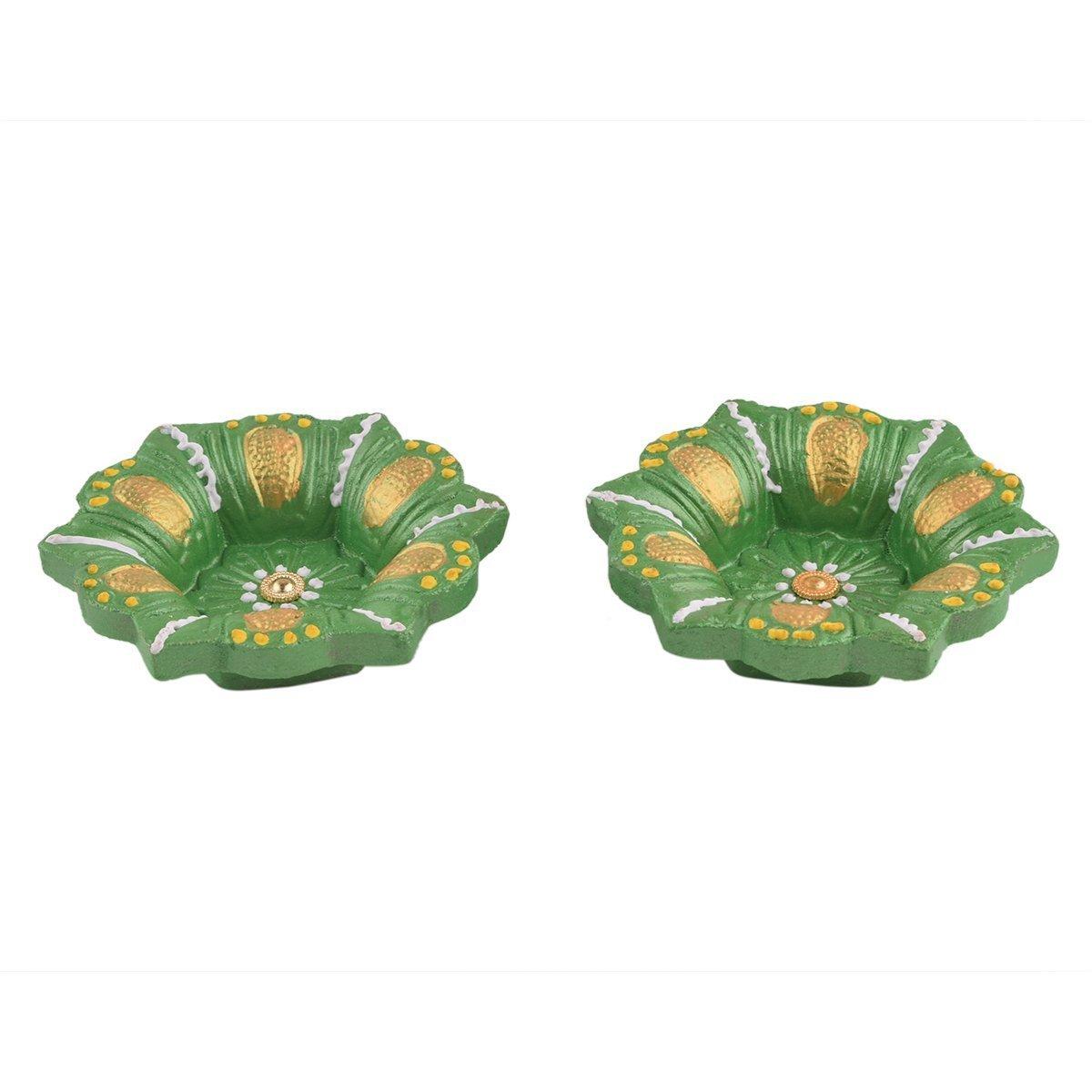 Store Indya, Diya Set Of 2 Handmade Clay Earthen Terracotta Diwali Diyas Lamps For Deepwali Door Pooja Festive Decorations storeindya