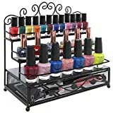 3 Tier Black Metal Heart Scrollwork Design Cosmetic Nail Polish Display Rack w/ Pull-Out Drawer - MyGift