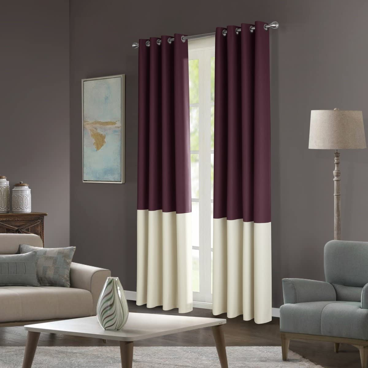 Dreaming Casa Stitching Style Two Tone Curtains Light Blocking Drapes Color Block Curtains 100 Wide Blackout Wide Panel Curtains Window Treatment Grommet Top 2 Panels Maroon Ivory 100 W x 63 L