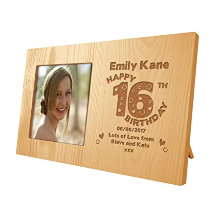 Girls Personalised 16th Birthday Wooden Photo Frame Daughters Engraved  Birthday Gift