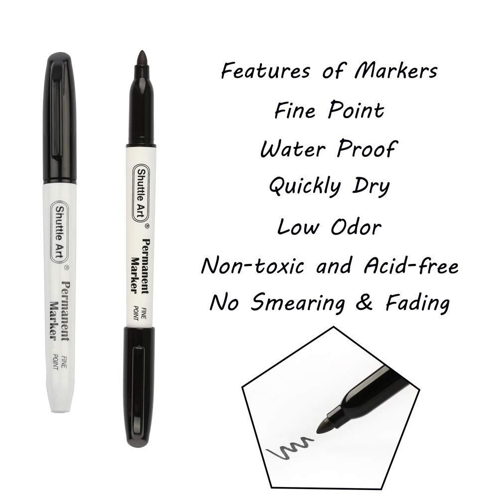 Permanent Markers,Shuttle Art 50 Pack Black Permanent Marker set,Fine Point, Works on Plastic,Wood,Stone,Metal and Glass for Doodling, Marking by Shuttle Art (Image #3)
