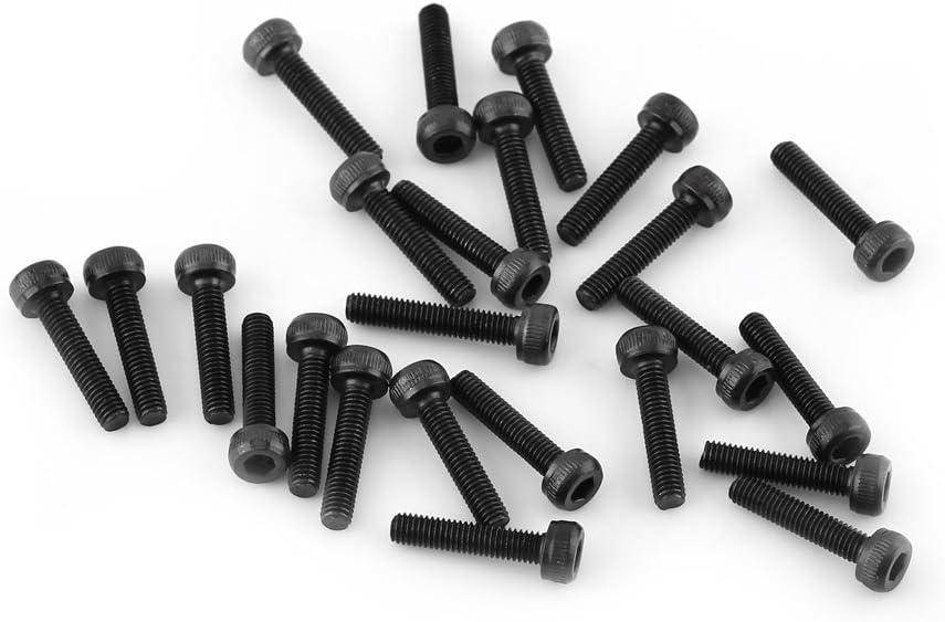 M3*12mm, Enti/èrement filet/ée-50pcs M3 Kit de Assortiment Vis Boulon T/ête Cylindrique Six Pans Creux en Acier Alli/é M3 x 4-50mm