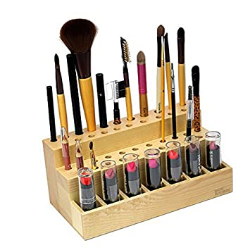Ikee Design Wooden Cosmetic Make Up Brush Eyeliner Mascara Holder with 7  Lipstick Compartments Organizer and