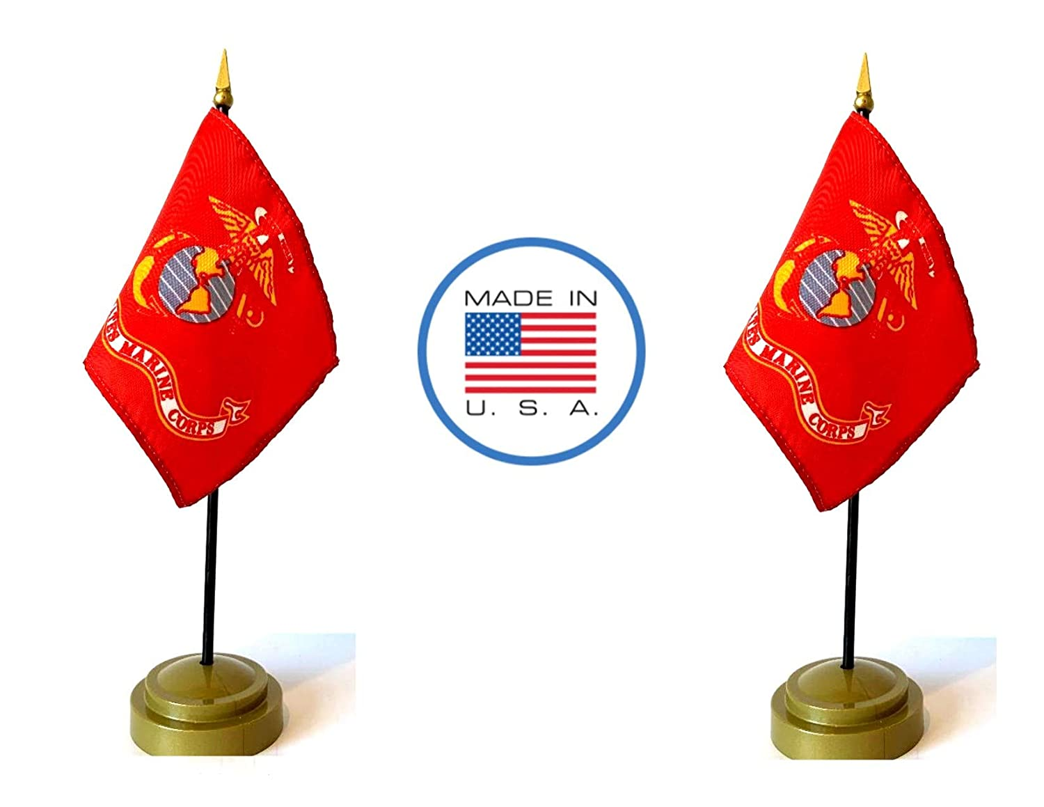 """Made in The USA Flag Set. 2 Marine Corps Rayon 4""""x6"""" Miniature Office Desk & Little Hand Waving Table Flags Includes 2 Bronze Flag Stands & 2 Small Mini USMC Military Stick Flags"""