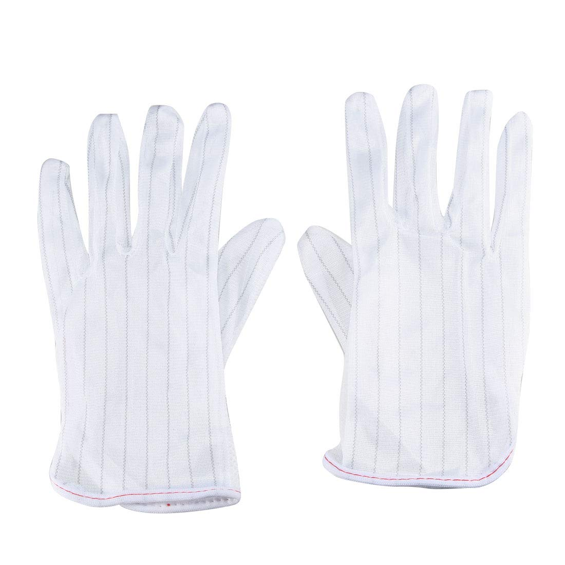 uxcell 10 Pairs White Full Finger Stripes Pattern Anti-static Working Gloves