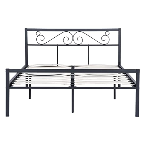 Wondrous Double Metal Bed Frame Noiseless Wood Slats Black King Size Bedstead Bases And Foundations With Headboard And Footboard With 500Kg Weight Capacity Onthecornerstone Fun Painted Chair Ideas Images Onthecornerstoneorg