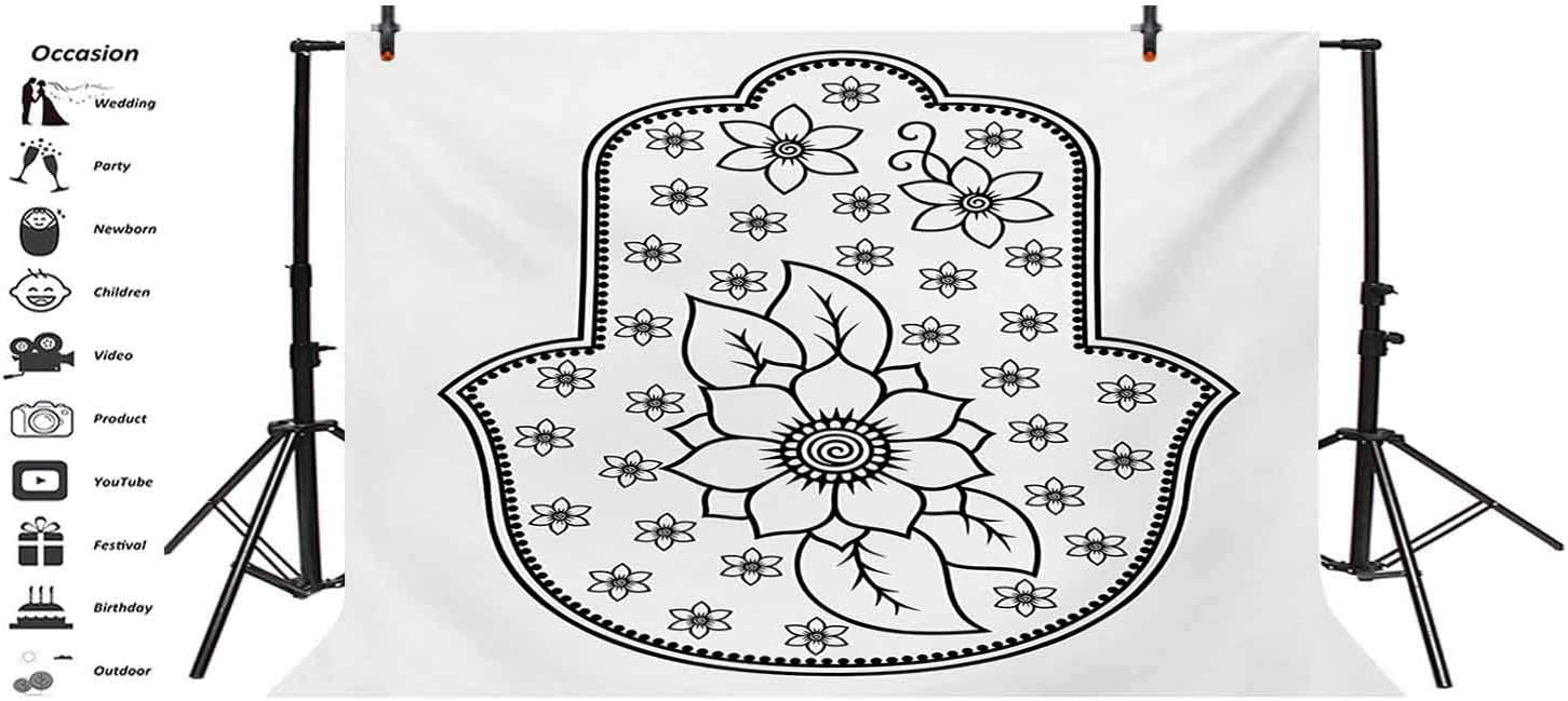 Hamsa 12x10 FT Vinyl Photo Backdrops,Ancient Hand of Fatima with Cute Lotus Blossoms Kabbalah Theme Mehndi Style Artwork Background for Child Baby Shower Photo Studio Prop Photobooth Photoshoot