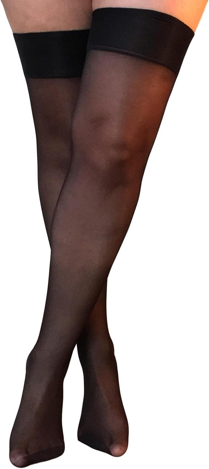 15 Denier Jarretelle mi-Chaussettes 3 Paires Essexee Legs EL337 à Peine Noire