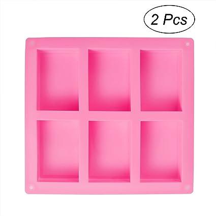 OUNONA - Moldes rectangulares de silicona para hornear galletas, chocolate, cubitos de hielo (