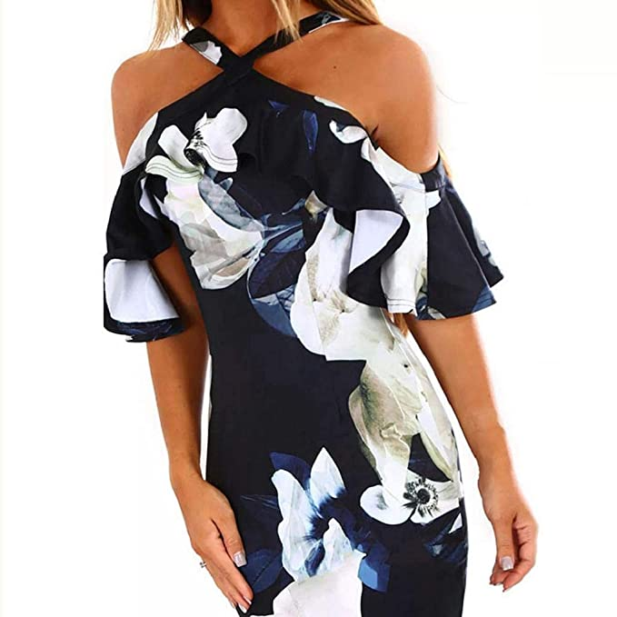 QUICKLYLY Vestido Largo/Corto Verano/Primavera 2019 Mujer Fiesta Medieval Playa Casual Sexy Elegante Boho Club Vestido Fiesta Tarde Impresión Las Mujeres ...