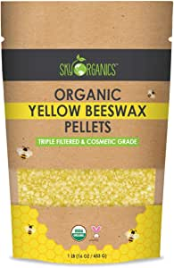 Sky Organics Organic Yellow Beeswax Pellets (1lb) 100% Pure USDA Organic Bees Wax Pesticide-Free Triple Filtered Easy Melt Beeswax Pastilles for DIY Candles Skin Care Lip Balm