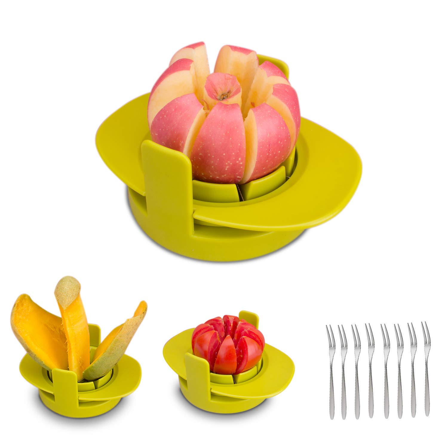 GIPTIME 4-in-1 Apple Pear Mango Tomato Guava Orange Pitaya Fruit Vegetables Slicer Corer Cutter with Common Base, Dishwasher Safe Practical Fruit Tools, 8 Fruit Forks as Bonus