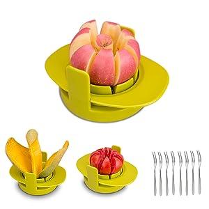 GIPTIME 4-in-1 Apple Pear Mango Tomato Guava Orange Pitaya Fruit Vegetables Slicer Corer Cutter with Common Base, Dishwasher Safe Practical Fruit Tools, 8 Fruit Forks as Bonus