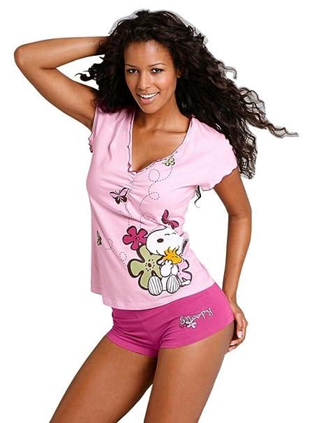 Snoopy - Pijama - para mujer Rosa 46