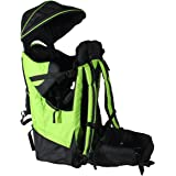 Deluxe Green Baby Back Pack Cross Country Carrier w/ Stand Child Kid Shade Visor