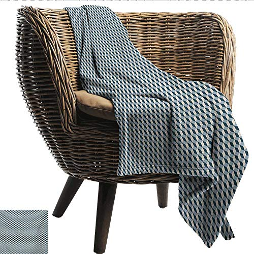 Davishouse Geometric Decorative Throw Blanket 3D Effect with Stacked Cubes Pattern Grid Style Squares Arrangement Traveling,Hiking,Camping,Full Queen,TV,Cabin 50