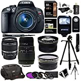 Canon EOS Rebel T5i 18.0 MP CMOS Digital SLR 18-55mm f/3.5-5.6 IS STM Lens + Sigma 70-300mm f/4-5.6 DG Macro Telephoto Zoom Lens + Polaroid .43x HD Wide Angle & 2.2X Telephoto Lens + Accessory Bundle