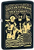 Vietnam Veteran Your Military Sacrifice Black Matte Zippo Lighter