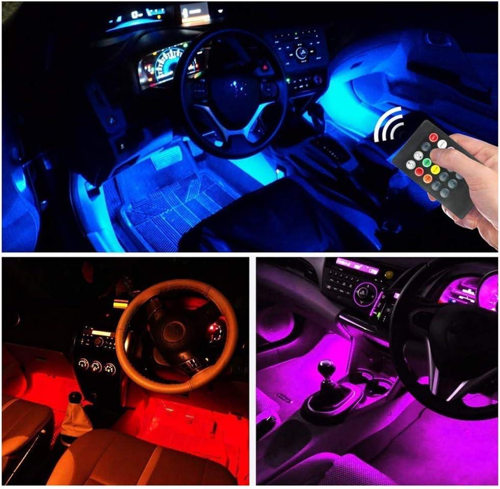 4 x 12 Auto tiras luz LED luces Auto Innenraumbeleuchtung puerto USB Auto Lichtleiste con mando a distancia SHS LED iluminaci/ón interior Auto atm/ósfera luz