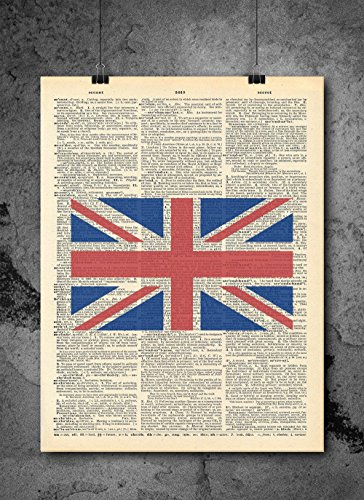 London Union Jack Vintage Dictionary Print 8x10 Inch Home Vintage Art Abstract Prints Wall Art For Home Decor Wall Decorations For Living Room Bedroom