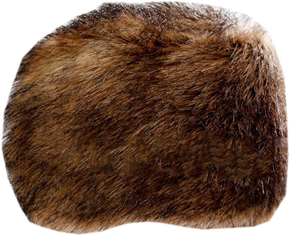 Womens Cossack Russian Style Faux Fur Hat with Stretch Thick Warm Cap