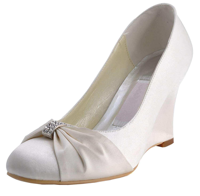 Qiusa MZ597 Damen Round Toe High Heel Wedge Rhinestition Braut Hochzeit Abend Weiß Satin Pump Schuhe UK 9 (Farbe   -, Größe   -)