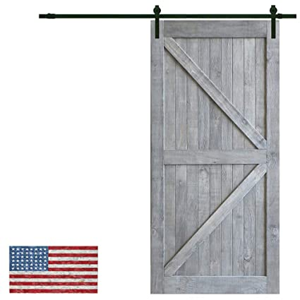 Made In U.S. Heavy Duty Sturdy Sliding Barn Door Slab Design   Unfinished  Natural Solid Knotty