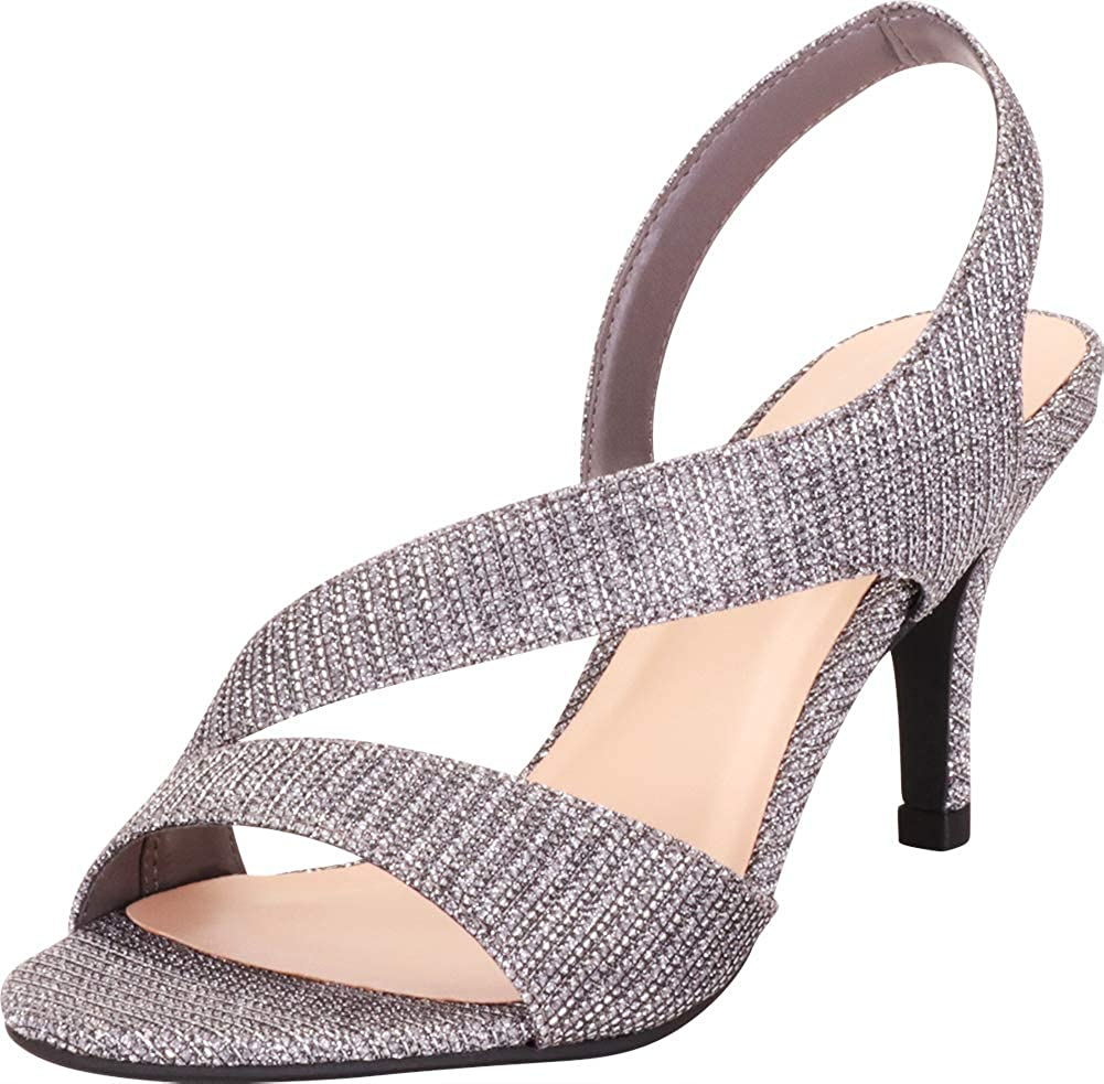 Gunmetal Glitter Cambridge Select Women's Open Toe Strappy Stretch Slingback Mid Heel Dress Sandal