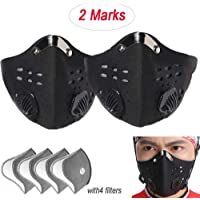 jialixing Dust Face Mask,Anti Air Pollution Smoke Mask - Washable Reusable Activated Carbon Masks with Replaceable Filters Breathing Valve Sports Mask Filtration PM2.5, Pollution, Pollen, Smoke etc.