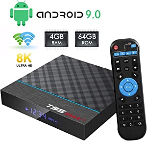 TV Box Android 9.0, T95 MAX+ Android Box 4GB RAM 64GB ROM with Amlogic S905X3 Quad-core Cortex-A55 BT4.0 Dual WiFi 2.4/5G Support 8K 3D Android TV Box