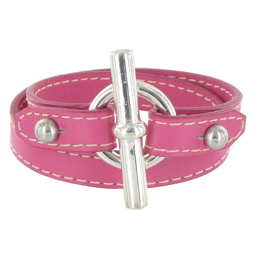 Les Poulettes Jewels - Sterling Silver Bracelet Double Turn - With Fuchsia Leather and T Clasp Knot Design