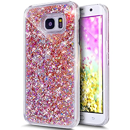 Galaxy S7 Edge Case,ikasus Galaxy S7 Edge [Liquid Glitter] Case,[Red] Crystal Clear Hard PC Quicksand Bling Glitter Sales
