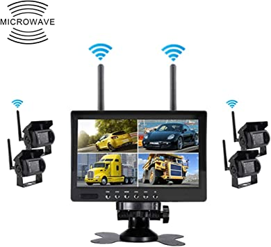XKC-Parking Asistencias de estacionamiento Partes, PZ607-W-D4 7.0 Pulgadas 2.4GHz Audio y Video Digital inalámbrico 4 Monitor de automóvil con inversión separada: Amazon.es: Electrónica