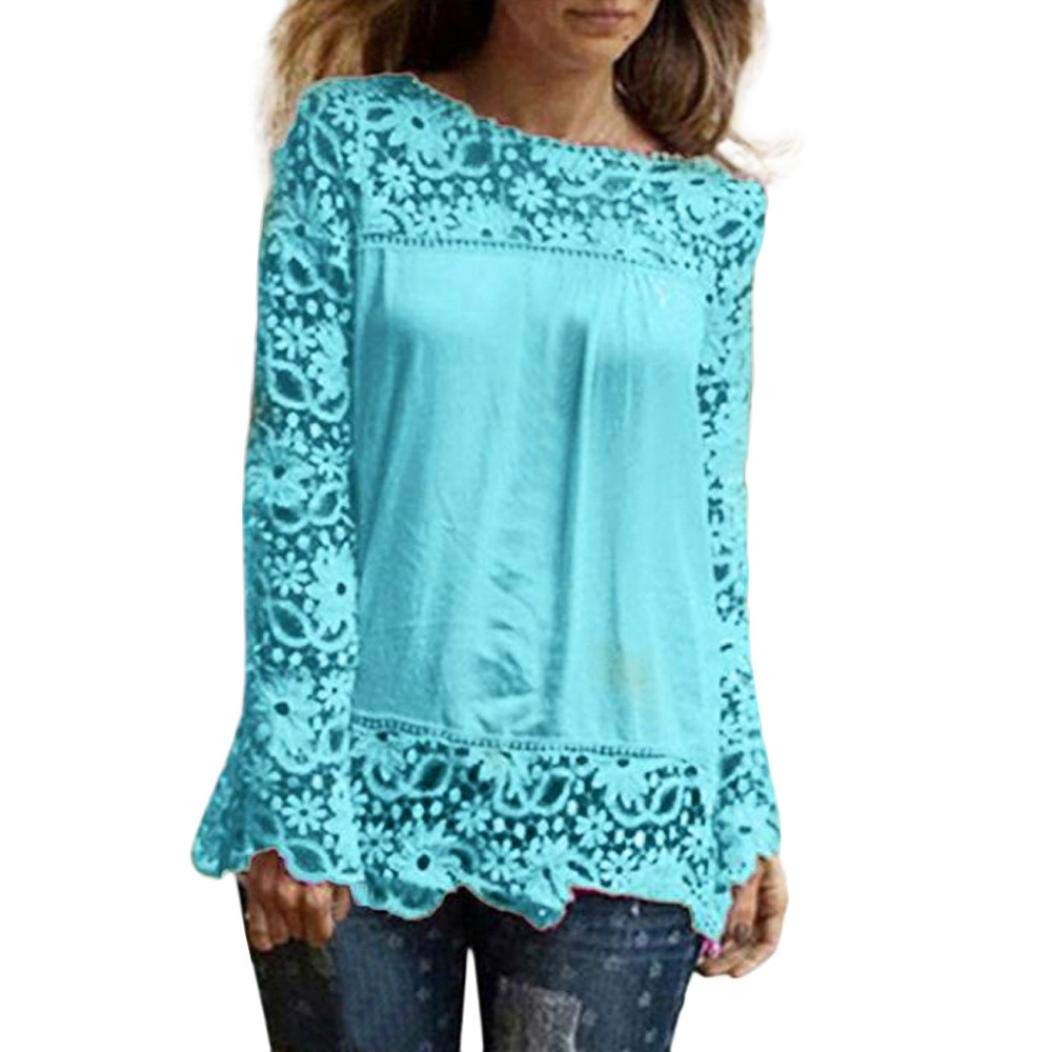 iQKA Women Plus Size Hollow Out Lace Splice Long Sleeve Shirt Casual Blouse Loose Top( Light Blue,Medium)