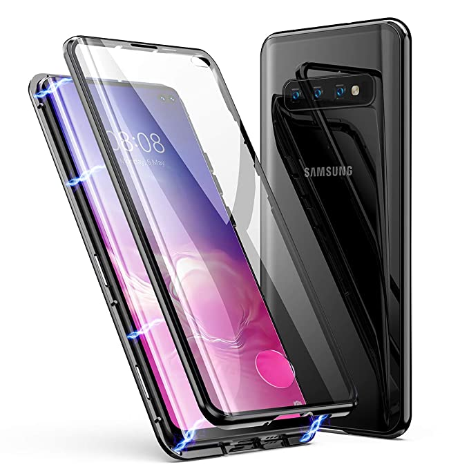 Samsung Galaxy S10 Plus Case, ZHIKE Magnetic Adsorption Case Front and Back  Tempered Glass Full Screen Coverage One-Piece Design Flip Cover for