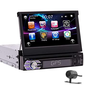7 Pulgadas de Pantalla táctil capacitiva Desmontable Sistema estéreo GPS Coches Reproductor de DVD 1DIN Coche Bluetooth Autoradio RDS FM Am Receptor ...