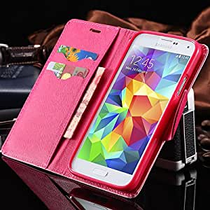 Holders & Stands Leather Back Cover Cases For Galaxy S5 Phone Bags & Cases For Samsung Galaxy S5 i9600 SV Wallet Stand Flip --- Color:hot pink