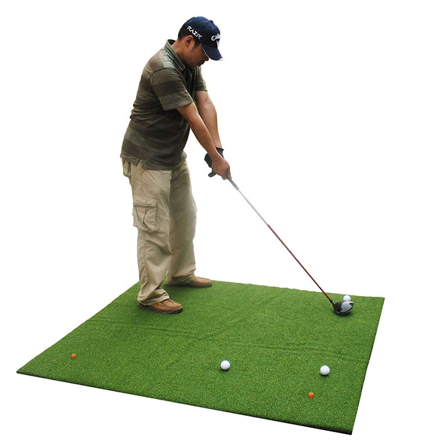 Popsport 3' x 4'/3' x 5'/4' x 4'/4' x 5'/5' x 5' Golf Mats Practice Golf Hitting Mat Portable Outdoor Sports Golf Training Turf Mat for Indoor Backyard or Outdoor Practice (4' x 5') by Popsport