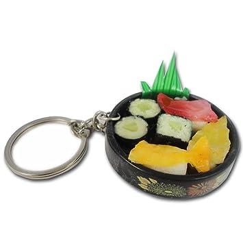 Amazon.com: Japón Sashimi Sushi Roll Plato de Comida Llavero ...