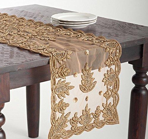 Elegant Lakshmi Hand Beaded Gold Table Runner 16 Quot X72