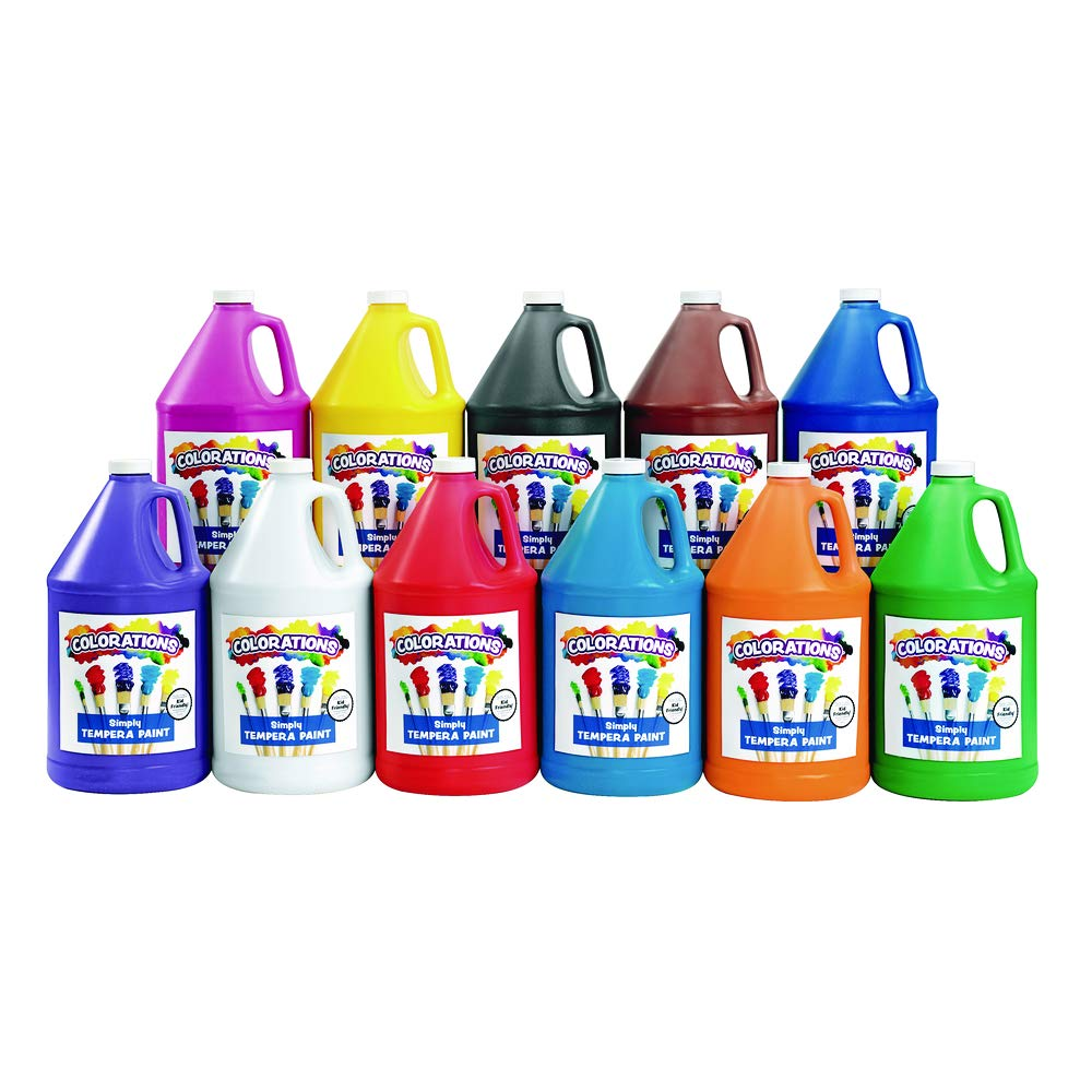 Colorations Tempera Paint, Gallon Size, Set of 11 Colors, Non Toxic, Vibrant, Bold, Kids Paint, Craft, Hobby, Fun, Art Supplies (Item # STGAL) by Colorations